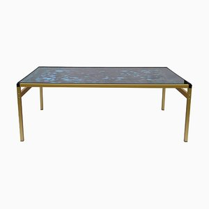 Vintage Design Glass Painted Minimalist Coffee Table 1980s