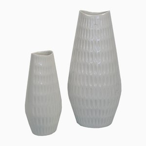 Vintage White Porcelain Vases from Schumann Arzberg, Set of 2