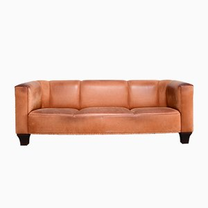 Vintage Cognac Palais Stoclet Leather Sofa by Josef Hoffmann for Wittmann