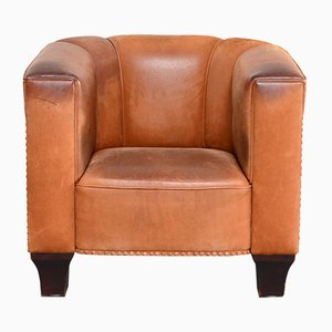 Vintage Cognac Palais Stoclet Leather Lounge Chair by Josef Hoffmann for Wittmann