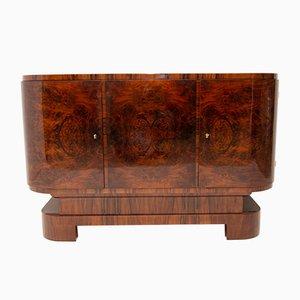 Aparador o mueble bar Art Déco oval de nogal, años 30