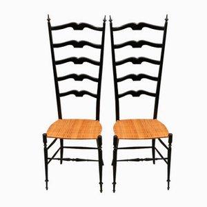 Ebonisierte Mid-Century Chiavari Stühle mit hoher Rückenlehne, 2er Set