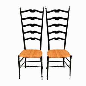 Mid-Century High Back Ebonized Chiavari Chairs, Set of 2