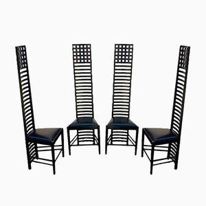 Italienische Mid-Century moderne Hill House 1 Stühle von Charles Rennie Mackintosh für Cassina, 1973, 4er Set