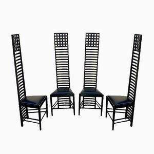 Mid-Century Italian Modern Hill House 1 Chairs by Charles Rennie Mackintosh for Cassina, 1973, Set of 4