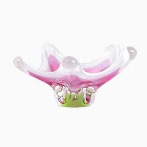 Cuenco bohemio de vidrio artístico rosa de Josef M. Hospodka para Sklarna Chribska, años 60