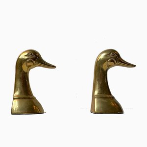Vintage American Duck Bookends in Brass, 1950s, Set of 2