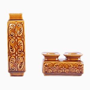 Keramikvase & Kerzenhalter Set von Ditmar Urbach, 1970er