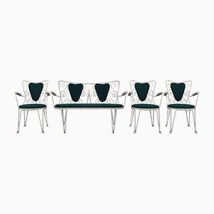 Juego de sofá y tres sillas de jardín, años 60