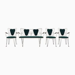 Mauser Garten-Sitzgruppe aus Sofa & 3 Stühlen, 1960er