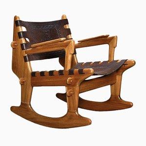 Rocking Chair Mid-Century en Cuir et Teck de Angel Pazmino