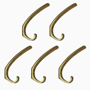 Austrian Brass Coat Hooks, 1950s, Set of 5