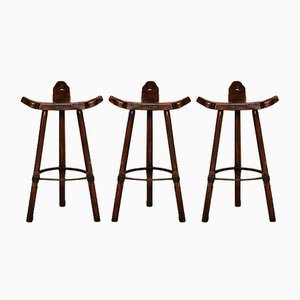Mid-Century Brutalist Iron and Oak Stools, 1960s, Set of 3