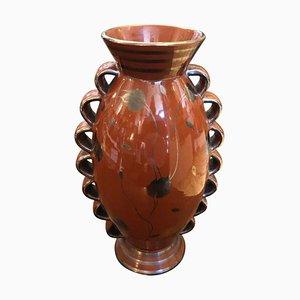 Italienische Art Deco Keramikvase in Braun und Silber, 1930er