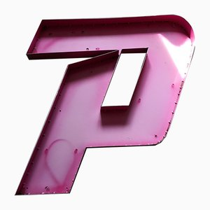 Large Vintage Metal Letter P Sign
