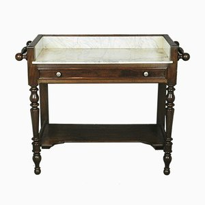 French Oak & White Marble Washstand or Dressing Table, 1920s