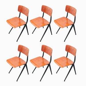 Vintage Compass School Chairs by Ynske Kooistra for Marko, 1960s, Set of 6
