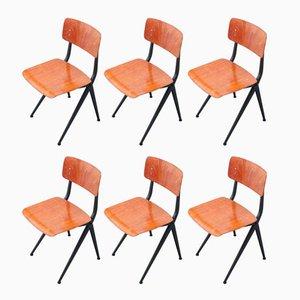 Vintage Schulstühle mit Kompass-Beinen von Ynske Kooistra für Marko, 1960er, 6er Set