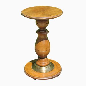 Cherry Wood Pedestal Side Table, 1970s