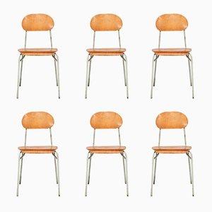Industrielle Vintage Schulstühle aus Schichtholz & Stahl von Jiri Petrivy für Drevoindustria, 6er Set