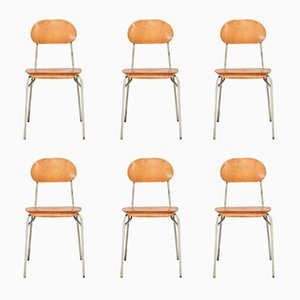 Vintage Industrial Plywood & Steel School Chairs by Jiri Petrivy for Drevoindustria, Set of 6