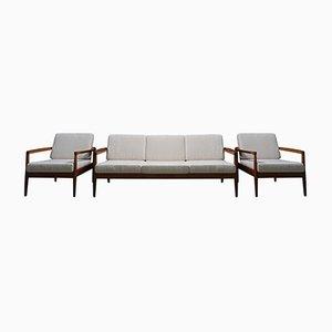 Juego de sofá de tres plazas y dos butacas danés Mid-Century, años 60