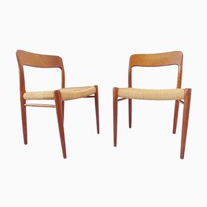 Model 75 Chairs by Niels O. Møller for J.L. Møllers, 1960s, Set of 2