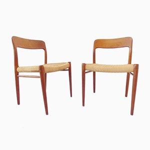 Modell 75 Stühle von Niels O. Møller für J.L. Møllers, 1960er, 2er Set