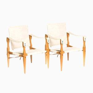 Vintage Danish Canvas Safari Chairs, 1960s, Set of 2