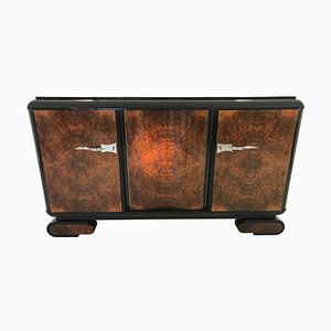 Art Deco Walnut Burl Wood Sideboard, 1920s