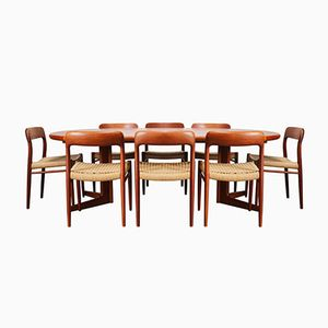 Large Danish Teak & Papercord Model 75 Dining Room Set by Niels Otto Møller, 1950s