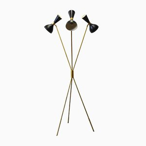 Mid-Century Italian Black Brass Floor Lamp from Stilnovo, 1950s