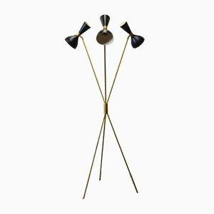 Minimalistische italienische Mid-Century Stehlampe aus schwarzem Messing von Stilnovo, 1950er