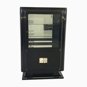 Art Deco Style High Gloss Black Showcase Cabinet, 1940s