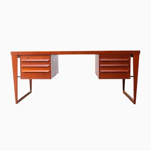Danish Model 70 Teak Executive Desk by Kai Kristiansen for Feldballes, 1950s