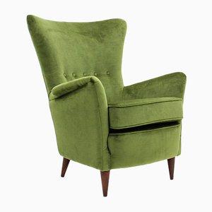 Butaca italiana Mid-Century de terciopelo verde, años 50
