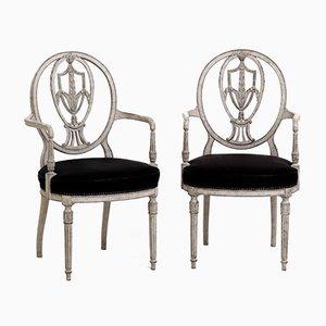 Antike europäische Armlehnstühle mit Rosshaar-Sitz & geschnitztem Gestell, 8er Set