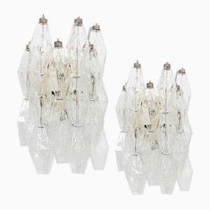 Lámpara de pared Poliedri de Carlo Scarpa para Venini, años 60. Juego de 2