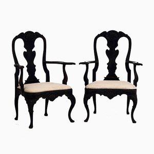 Antike schwedische Armlehnstühle im Rokoko-Stil, 2er Set