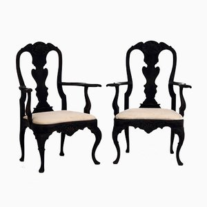 Antique Swedish Rococo-Style Armchairs, Set of 2