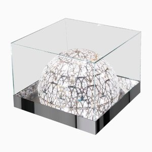 Glass Roma Coffee Table with Arabesque Steel & Crystal Lamps from VGnewtrend