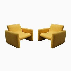 Moderne gelbe Mid-Century Sessel, 1960er, 2er Set