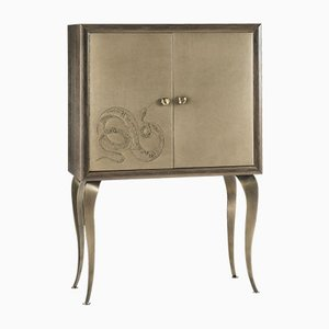 Eden Bar Cabinet with Two Leather Doors & Embroidery by Giorgio Ragazzini for VGnewtrend