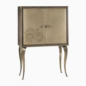 Mueble bar Eden con dos puertas de cuero bordado de Giorgio Ragazzini para VGnewtrend