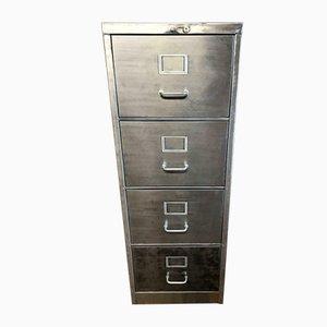 Schedario a quattro cassetti vintage industriale in metallo