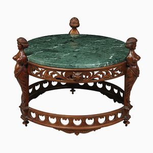 Antique Italian Carved Walnut Coffee Table with Marble Top, 1880s