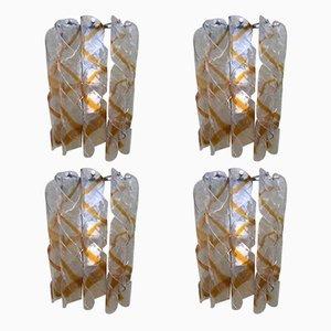 Lámparas de pared en espiral de cristal de Murano de Mazzega, años 70. Juego de 4
