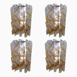 Twisted Murano Glass Wall Lights from Mazzega, 1970s, Set of 4