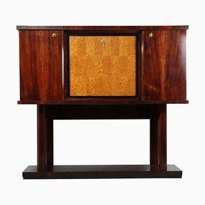 Mueble bar italiano Art Déco de palisandro y arce ojo de perdiz