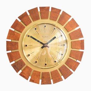 Brass Sunburst Wall Clock from Weimar, 1960s